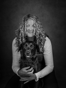Portrait of Labrador and Owner - B and Ella