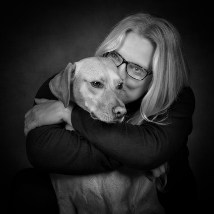Portrait of Labrador and Owner - Jayne and Blake