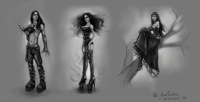 Original character concepts for Starblood the graphic novel, by Anna Prashkovich.