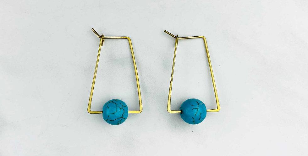 Turquoise & Brass Geometric Earrings