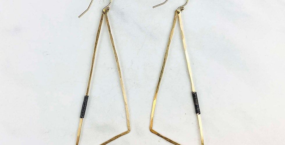 Geometric Triangle Earrings - Gold Fill