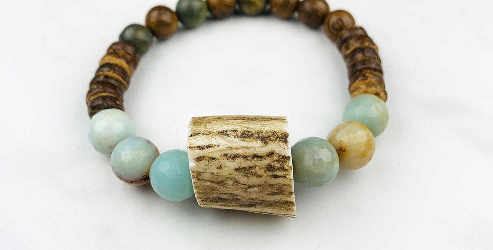 Amazonite and Antler Bracelet
