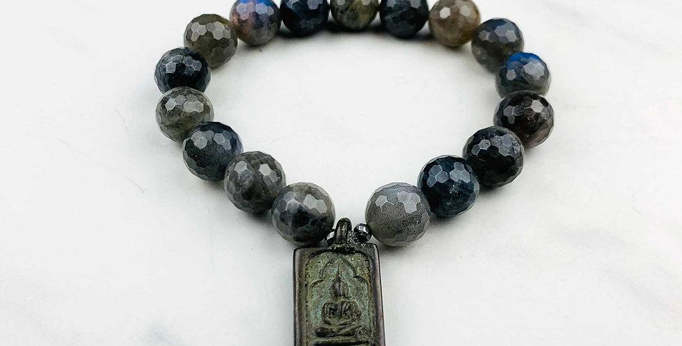 Labradorite Bracelet with Buddha Charm