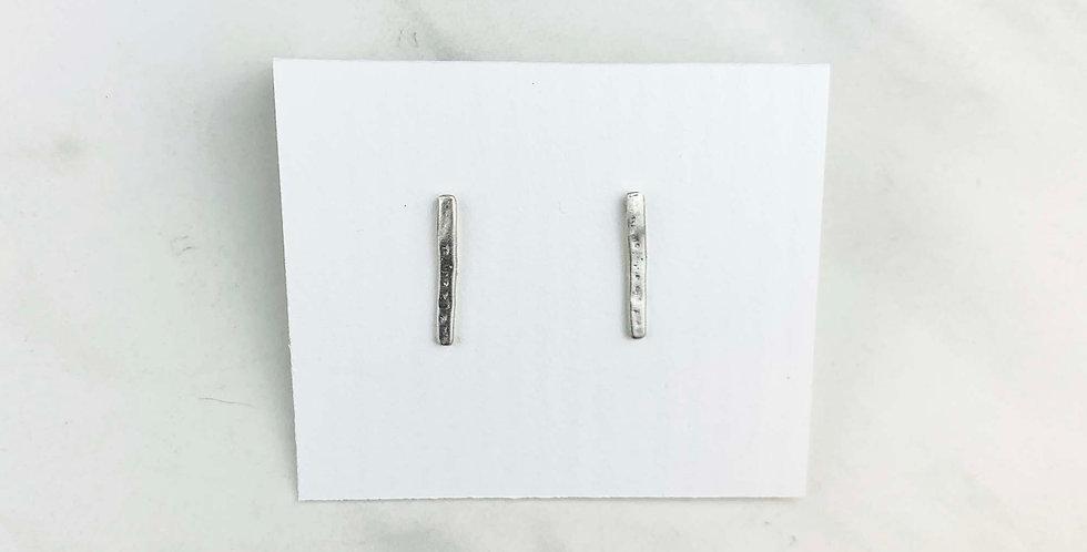 Mini Bar Stud Earrings - Sterling Silver