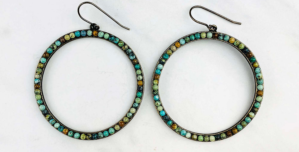 Circle African Turquoise Earrings