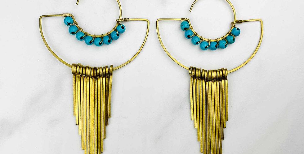 Turquoise Brass Fringe Earrings