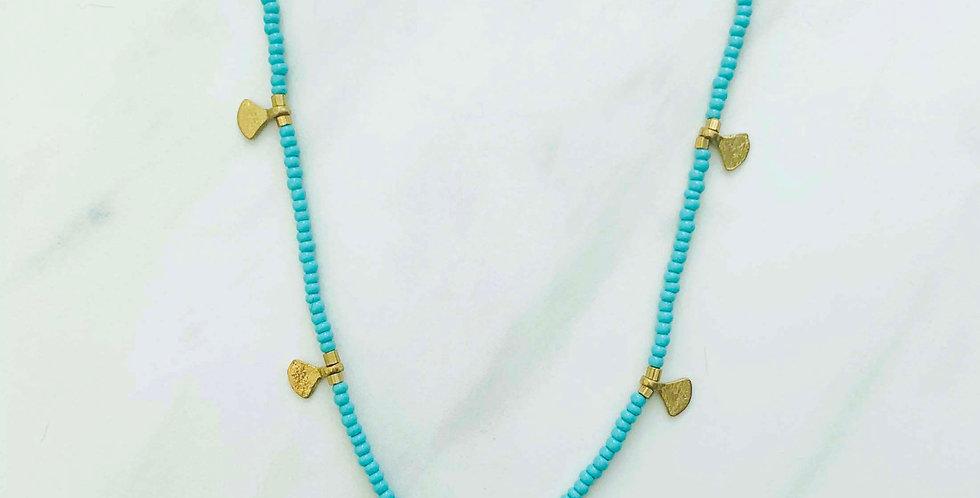 Beaded Fan Necklace - Aqua