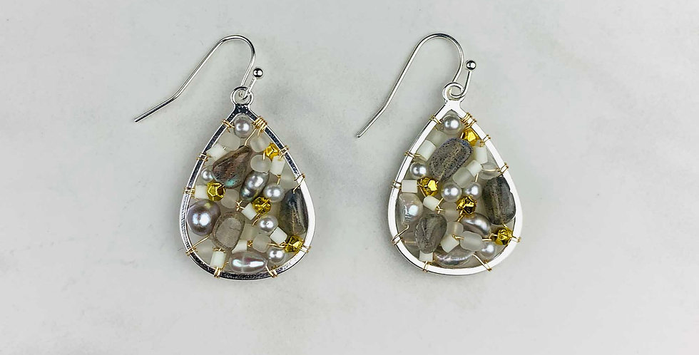 Pearl & Labradorite Mosaic Teardrop Earrings