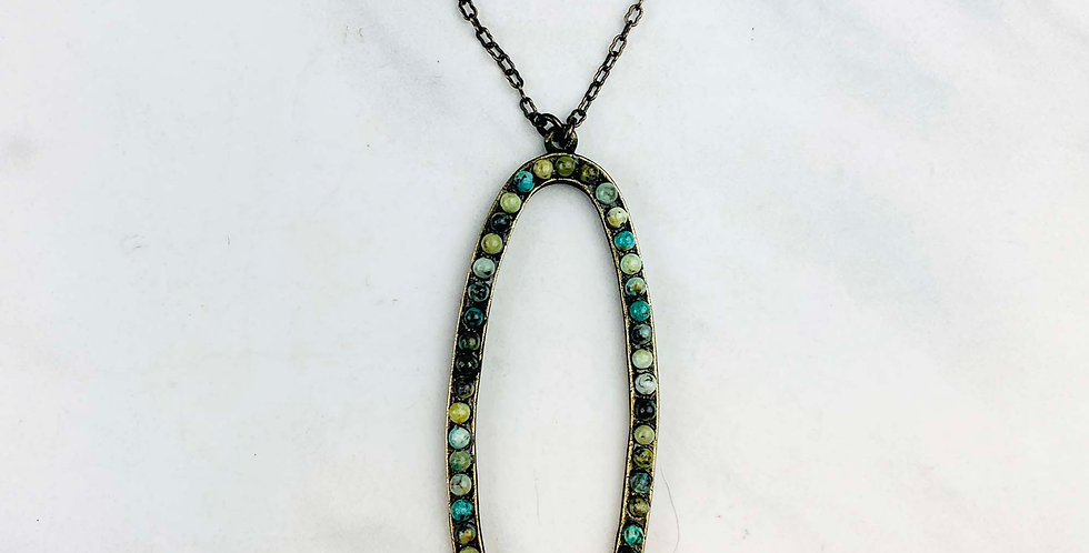 Oval African Turquoise Necklace