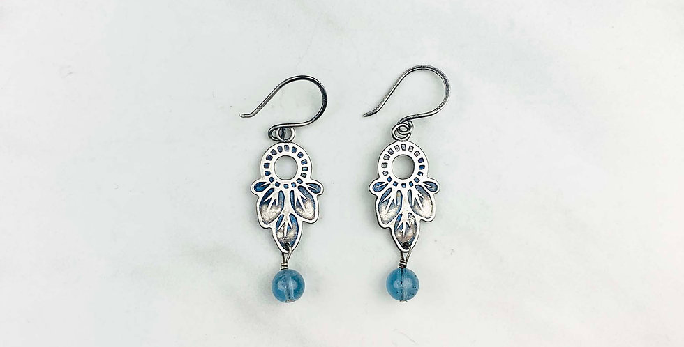 Stamped Silver & Aquamarie Earrings