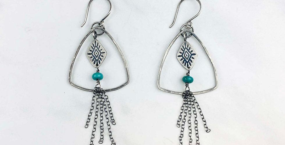 Triangle Turquoise Tassel Earrings