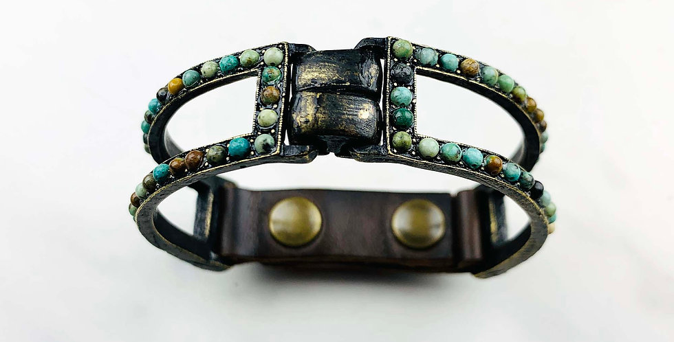 African Turquoise Two Bar Bracelet