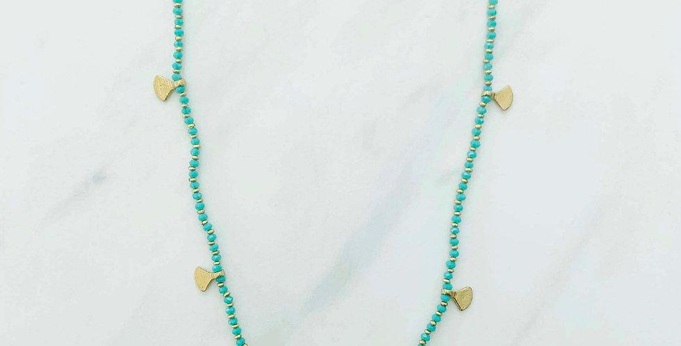 Beaded Fan Necklace - Teal Green