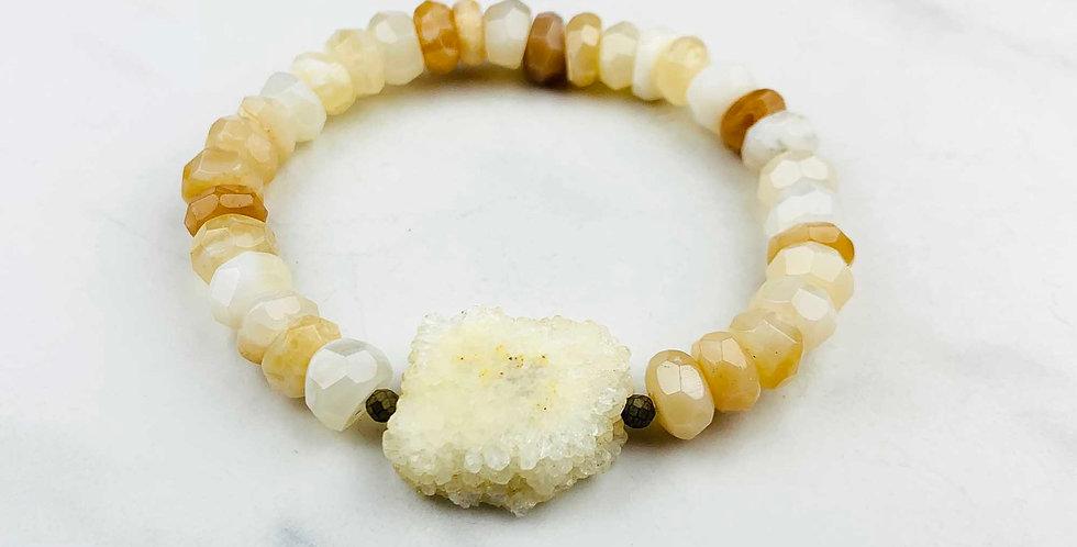 Honey Opal Bracelet with Moonstone Druzy