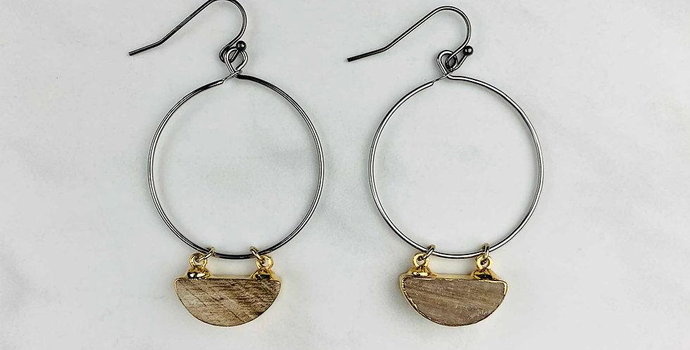 Agate Oxidized Hoop Earrings