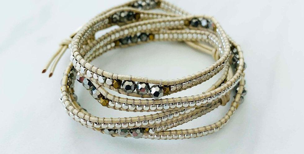 Silver & Pyrite Wrap Bracelet