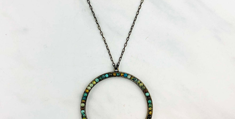 Large Circle African Turquoise Necklace