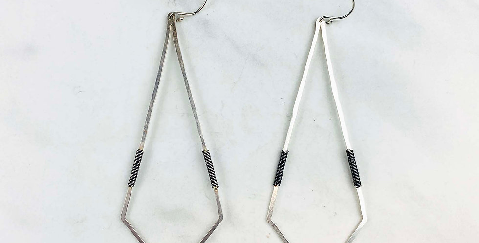 Geometric Diamond Earrings - Sterling Silver