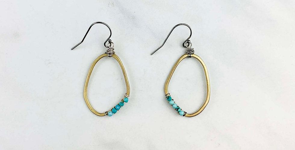 Turquoise Yellow Bronze Earrings