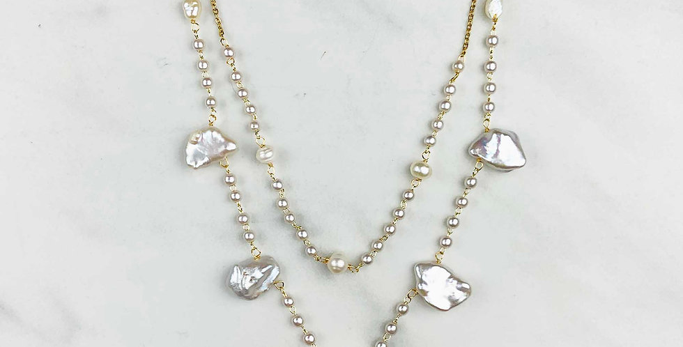 Pearl Double Drop Necklace