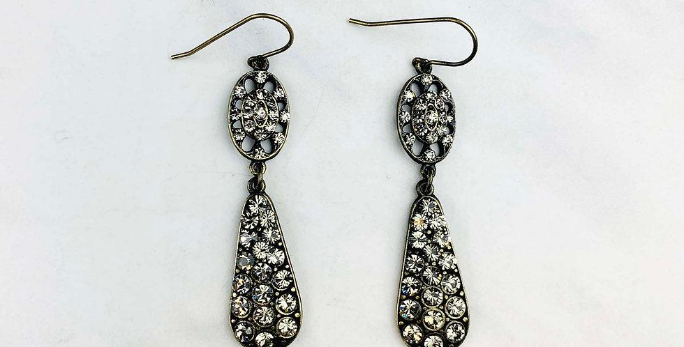 Double Drop Black Diamond Earrings