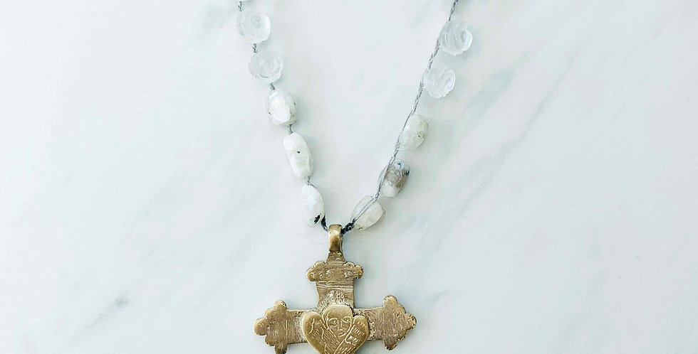 Vintage Cross Necklace with Moonstone