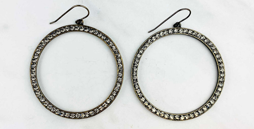 Circle Black Diamond Earrings