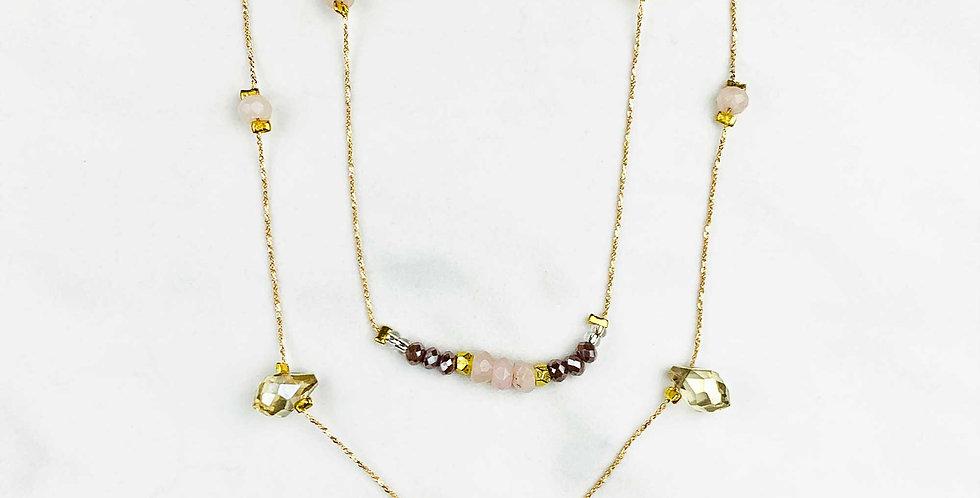 Double Strand Rose Quartz Necklace