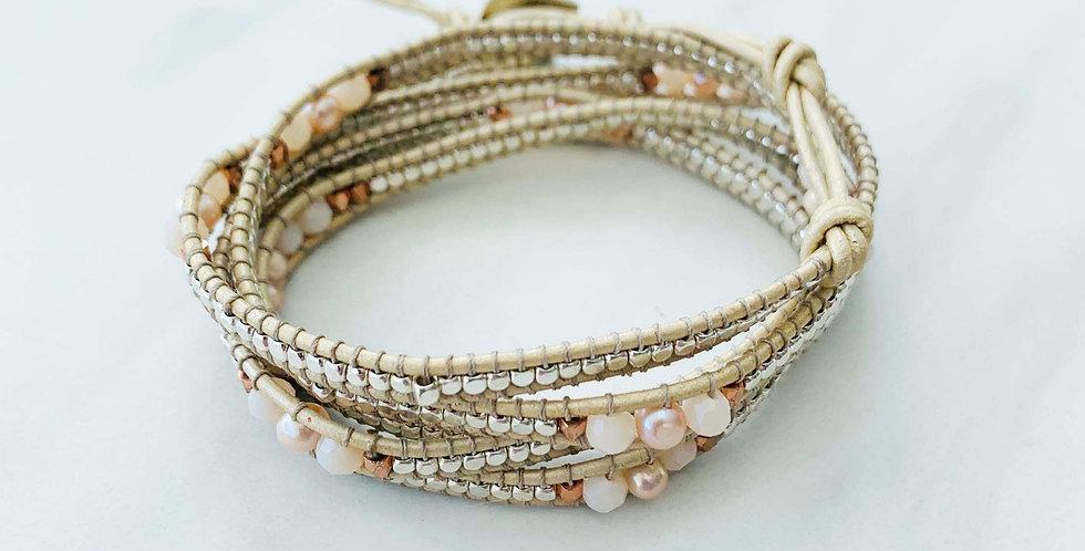 Silver & Blush Pearl Wrap Bracelet
