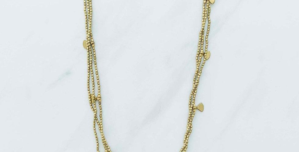 Triple Strand Fan Necklace - Brass