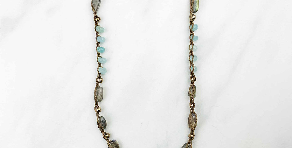 Labradorite & Amazonite Crocheted Necklace