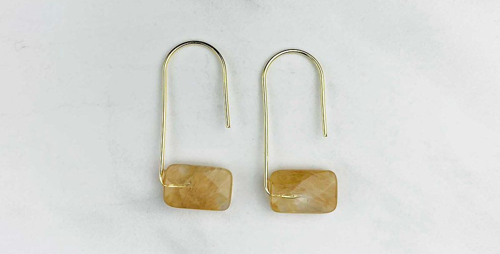 Modern Citrine Dangle Earrings