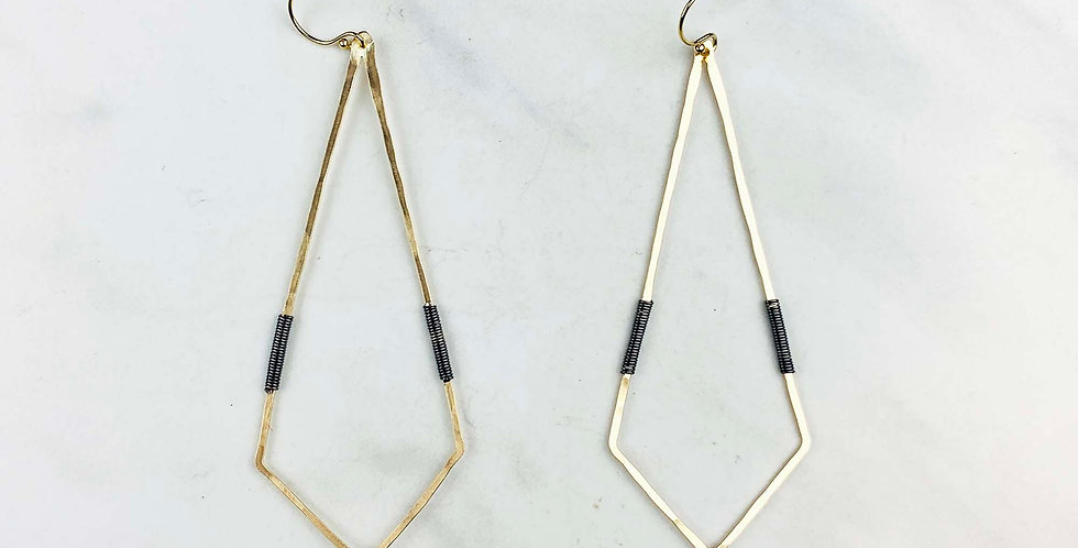 Geometric Diamond Earrings - Gold Fill