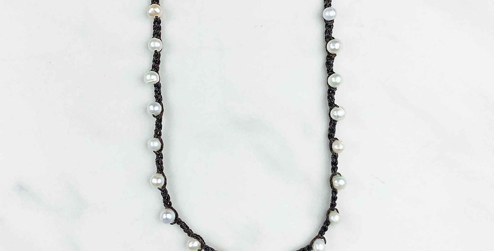 Freshwater Pearl Crocheted Necklace