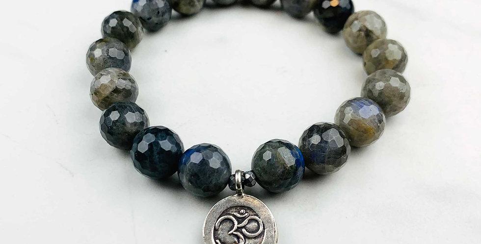 Labradorite Bracelet with Om Charm
