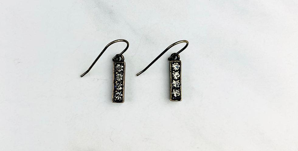 Black Diamond Bar Earrings