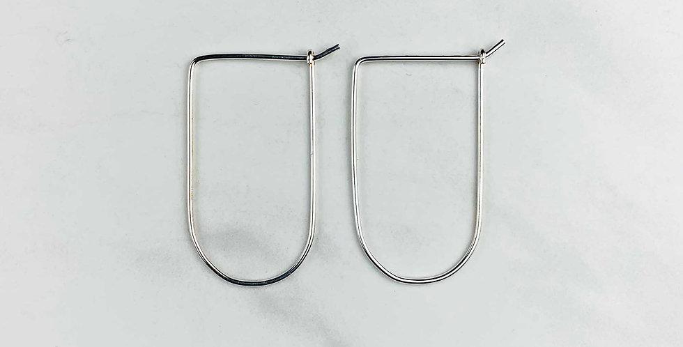 Modern Sterling Silver Hoops