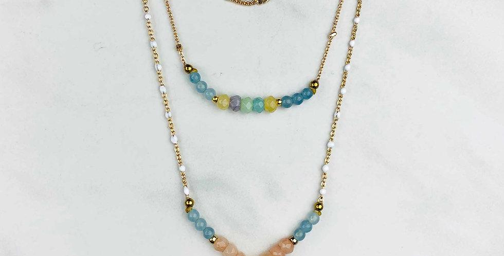 Triple Strand Moonstone Drop Necklace