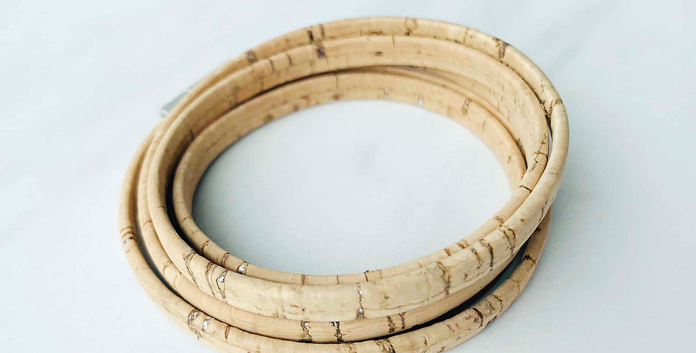 Natural Cork Wrap Bracelet
