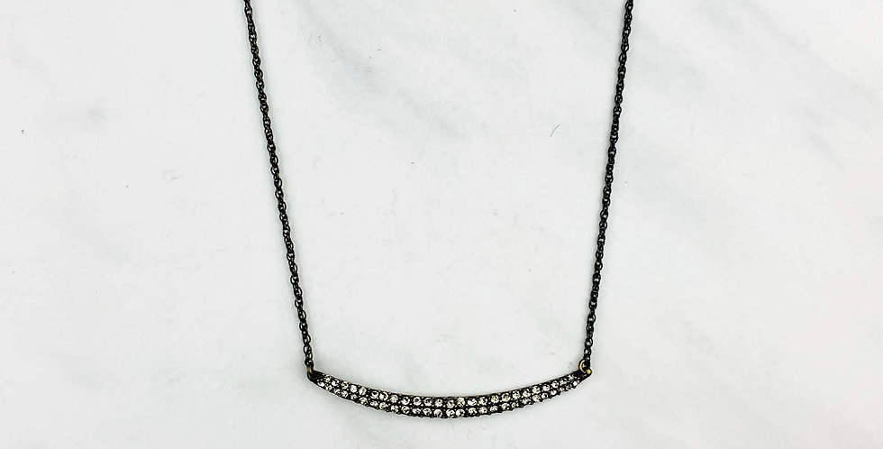 Crescent Bar Black Diamond Necklace
