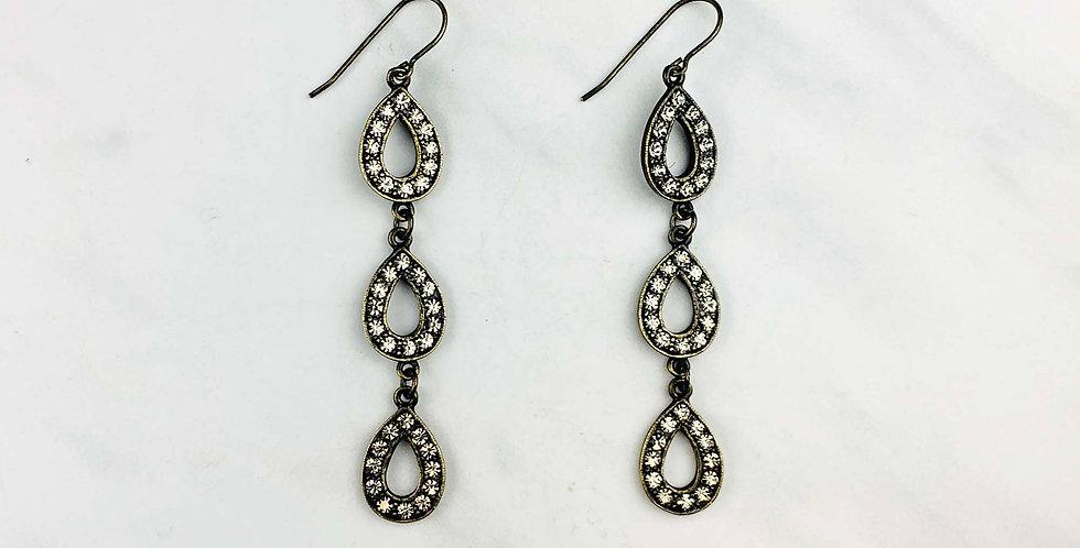 Triple Teardrop Black Diamond Earrings