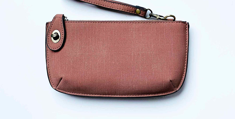 Crossbody Wristlet Clutch - Dusty Rose Linen