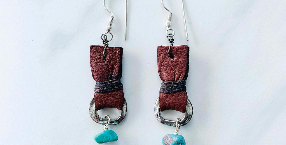 Turquoise & Leather Earrings