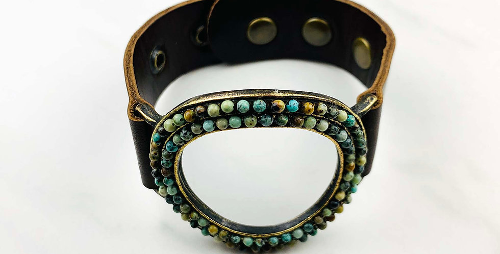 Open Circle African Turquoise Bracelet