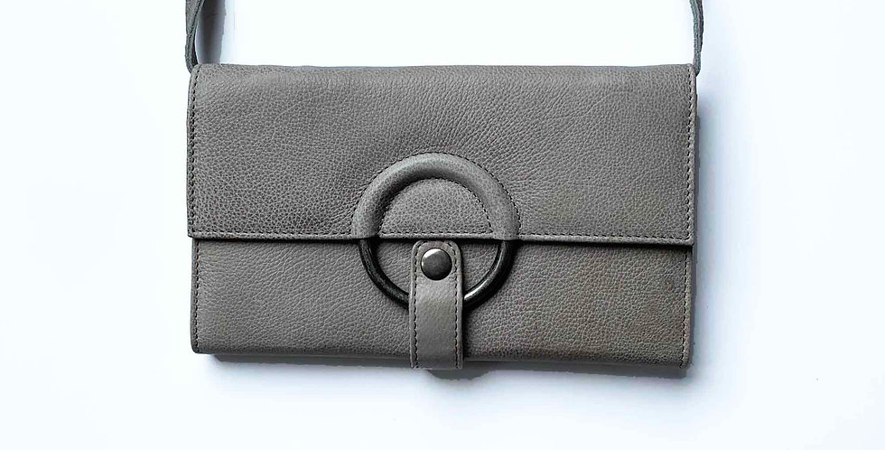 Leather Crossbody - Gray
