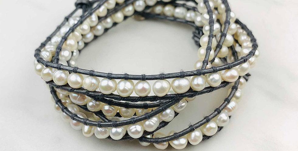 Pearl Wrap Bracelet - Gray