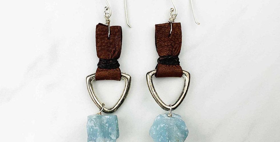 "Amazonite & Leather Earrings - 3-1/2"""