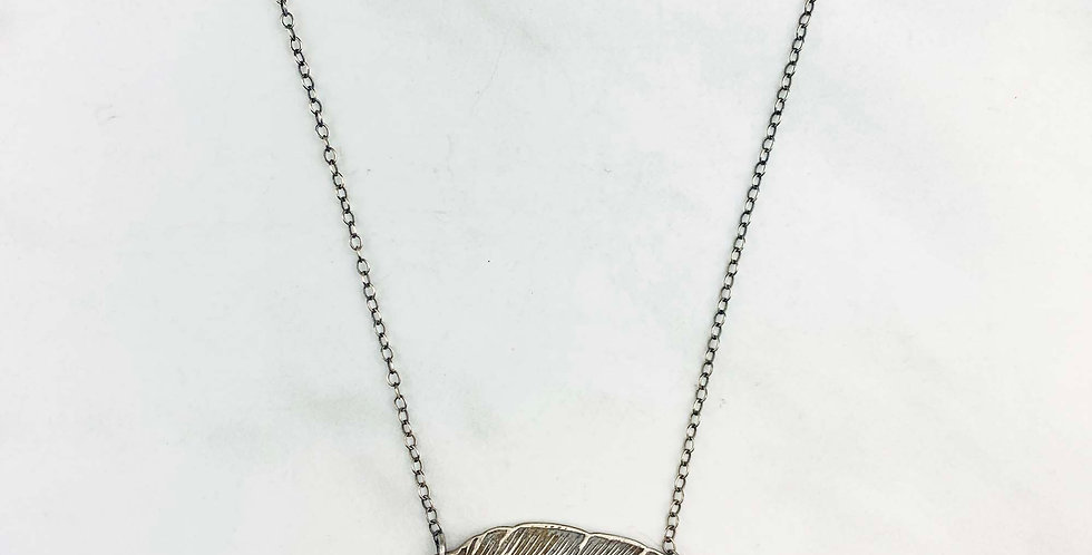 Stamped Silver Feather Necklace