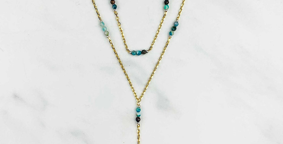 Multi-gem Double Strand Necklace