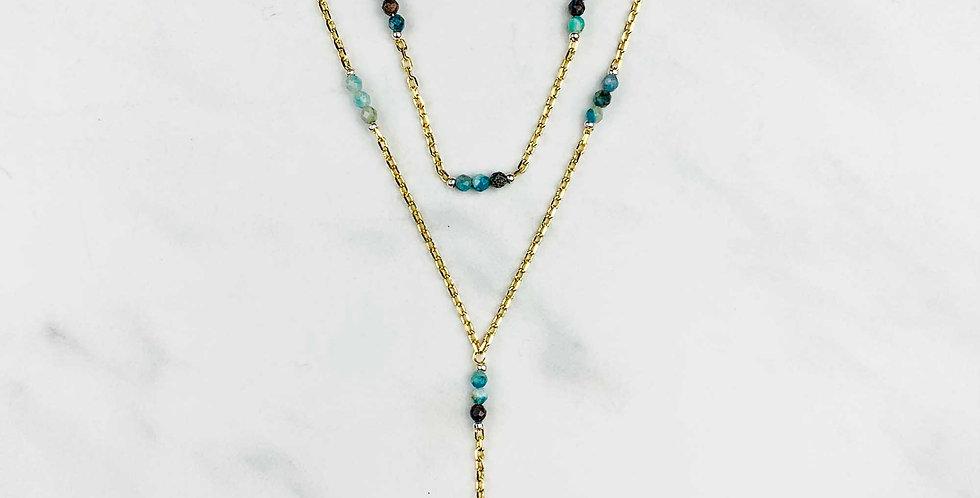 Multi-gem Double Strand Necklace